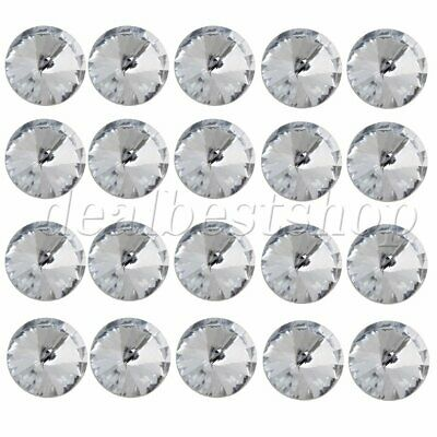 CraftbuddyUS DB4 4pc 20mm Clear Round Hand Made Beaded Buttons Crystal Diamante