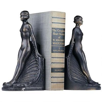 Set of 2: Art Deco Nude Female Form on Sea Shell Iron Book End