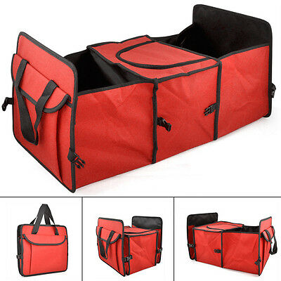 Red 2 in 1 Car Boot Organiser Shopping Tidy Heavy Duty Foldable Storage Bag