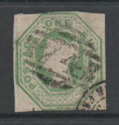 GB 1847-54 Embossed 1 shilling green SG54 good used 3 margin stamp cut square