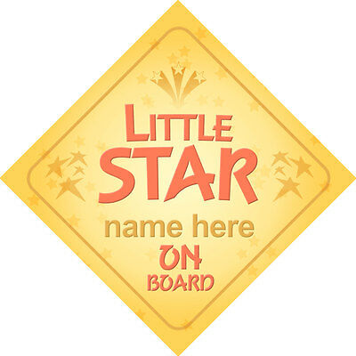 Little Star On Board Personalised Boy/Girl Child/Baby Car Sign