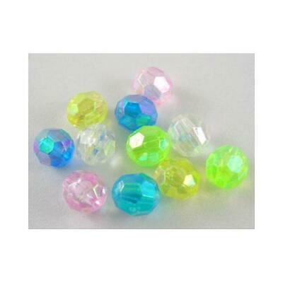 Acrylic Faceted Round Beads 8mm Mixed 60+ Pcs AB Art Hobby DIY Jewellery Making