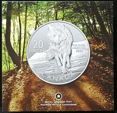 2013 Canada $20 Dollars Wolf.9999 Pure Silver Specimen - Mint With Card