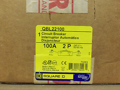 New Square D QBL 2 pole 100 amp 240v QBL22100 PowerPact Circuit Breaker