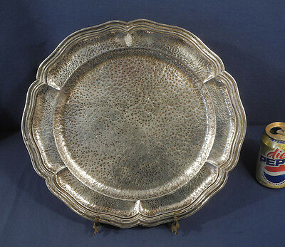 "Vintage Antique Mexican Sterling Silver 14"" Hand Hammered Tray Signed Vigueras"