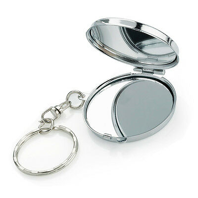 MINI SMALL COMPACT 3cm SHINEY SILVER COLOUR METAL KEY RING DOUBLE SIDED MIRROR