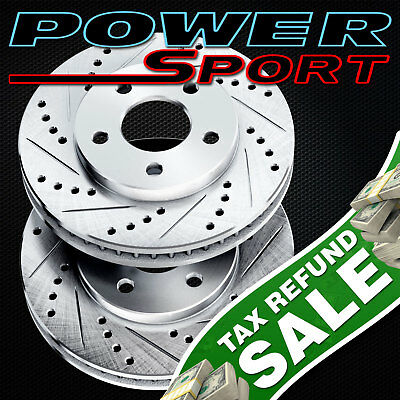 Brake Rotors [2 Rear] POWERSPORT *DRILLED & SLOTTED* DISC BF21132