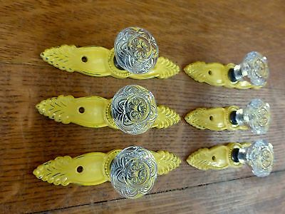 6 YELLOW ANTIQUE-STYLE FRENCH PULL CLEAR KNOB DRAWER CABINET HANDLE vintage chic