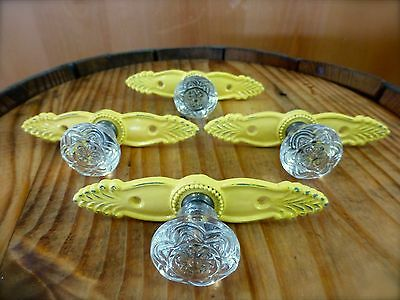 4 YELLOW ANTIQUE-STYLE FRENCH PULL CLEAR KNOB DRAWER CABINET HANDLE vintage chic