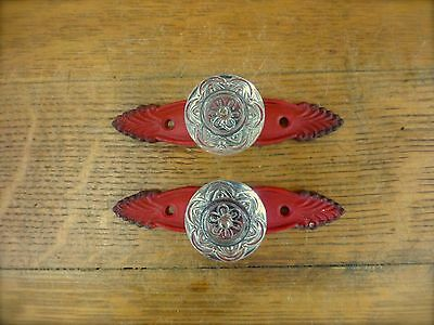 2 RED ANTIQUE-STYLE FRENCH PULLS CLEAR KNOBS DRAWER CABINET HANDLE vintage chic