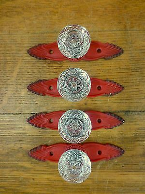 4 RED ANTIQUE-STYLE FRENCH PULLS CLEAR KNOBS DRAWER CABINET HANDLE vintage chic