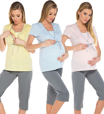 2 in1 Maternity & nursing 100% cotton 2-peace Pyjama Set size breastfeeding 7018
