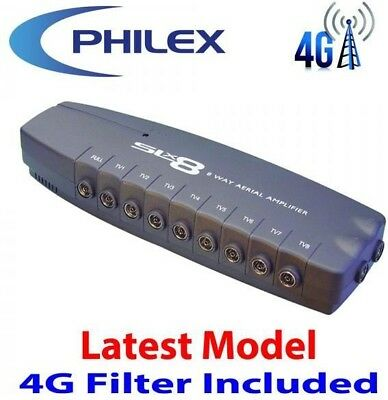 Philex 8 Way TV Aerial Booster Box Splitter Amplifier Freeview HD 4G Ready