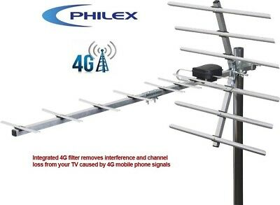 Philex SLX 14 Element Digital TV 4G Ready Outdoor / Loft Signal Booster Aerial