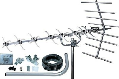Outdoor Loft 48 Element 4G Ready Digital Freeview TV Aerial & Full Install Kit