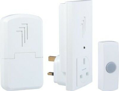 Byron DB313 30m Wireless Portable and Plug Through Door Chime Kit with Melody