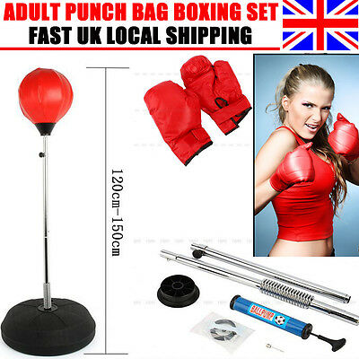 Punch Bag Ball Mitts Gloves Kit Boxing Set For Adult Free Standing Fitness New