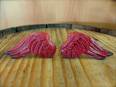 1 PAIR RED ANGEL WINGS DRAWER CABINET PULLS KNOBS HANDLES vintage shabby chic