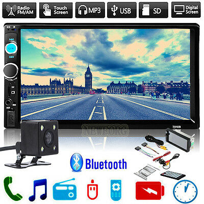 7'' HD Bluetooth Touch Screen Car Stereo Radio 2 DIN FM/MP5/MP3/USB/AUX + Camera