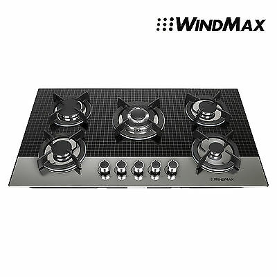 Windmax 900mm Coated Glass 5 Burner Built-In Stove NG Gas + LPG Cooktop Cooker