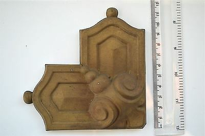 Original antique pressed brass furniture mount mirror cartouche emblem T6