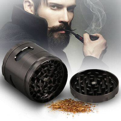 4 Piece 55mm Zinc Alloy Hand Crank Herb Mill Crusher Tobacco Smoke Grinder Gun