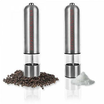 2 Pc Stainless Steel Electric Salt And Pepper Grinders