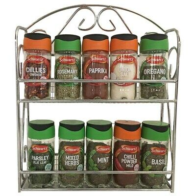Apollo Chrome Spice Rack Filled With 10 Jars Schwartz Herbs And Spices