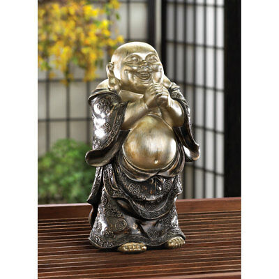 Happy Fat Belly Standing Buddah Figurine Black and Silver Buddha