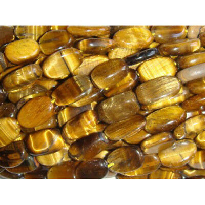25+ Yellow/Brown Tiger Eye Approx 8 x 10mm-10 x 12mm Handcut Oval Beads DW1845