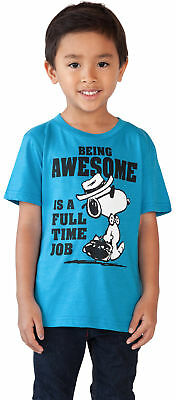 Peanuts Snoopy Awesome Toddler Baby Boys Blue T-Shirt
