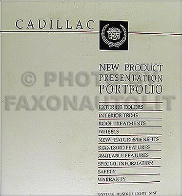 1989 Cadillac Dealer Album Data Book Color and Upholstery all models inc Allante