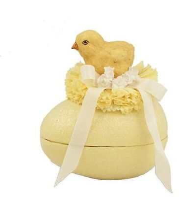 "Bethany Lowe ""Chick on Egg"" Yellow Paper Mache' Egg Shaped Container (TP5241)"