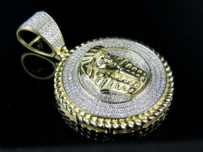 "New 10K Yellow Gold Egyptian Pharaoh Genuine Diamond Charm Pendant 1.65"" 1 Ct"