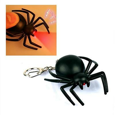 LED SPIDER KEYCHAIN w Light & Sound Toy Insect Animal NEW Key Ring Noise Black