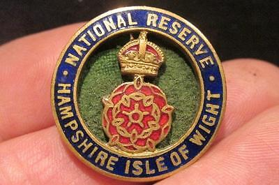 National Reserve Hampshire Isle of Wight Great Britain WWII Era Button Hole Pin