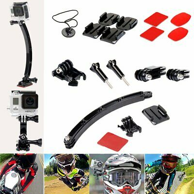 For GoPro Hero 4 3+ 3 Curved Arm Extension Flat Adhesive Helmet Mount Kit