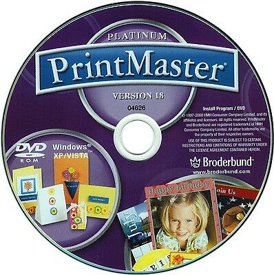 PRINTMASTER 18 PLATINUM Windows XP Vista Win 7 8 10 New PC DVD-ROM