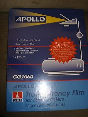Apollo Transarency Film For Laser Printers Clear Film