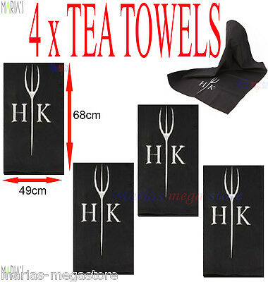 4x Large Hells Kitchen Tea Towel Embroidered Black with HK Logo Brand New