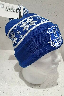 Official Everton Adults Snow Flake bobble Hat Royal and White - Great Gift Idea!