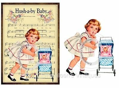 ~Vintage Image Grunge Nursery Lullabye Hush-A-By Baby Waterslide Decals~ KID576