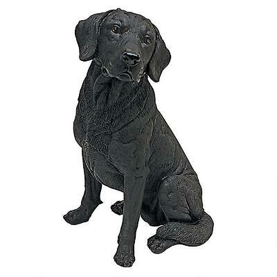 Black Labrador Retriever Puppy Dog Statue Home Garden Sculpture