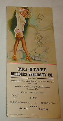 vintage Tri  State Builders Specialty Toledo Ohio ink Blotter,sexy risque pin up