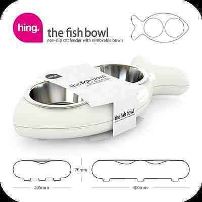 Hing FBW10 Fish Shaped Cat Bowl Rubber and Metal Design Easy Clean White - New