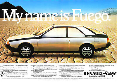 Renault Fuego Coupe Retro A3 Poster Print From Classic 80's Advert