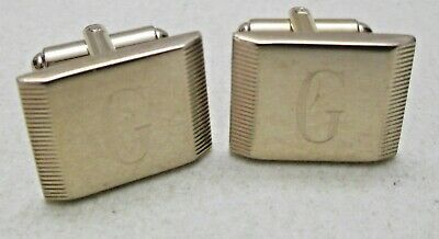 "Vintage Unsigned Cufflinks Engraved Letter ""G"" Gold Tone Square"
