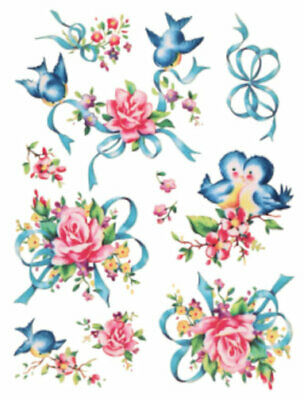 Vintage Image Retro Shabby Wedding Bluebirds and Roses Waterslide Decals BIR837