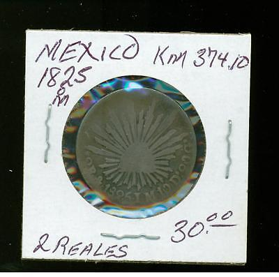 1825 M Mexico 2 Reales  KM 374.10