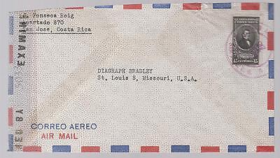 ww 2  Costa Rica censored airmail Cover to USA